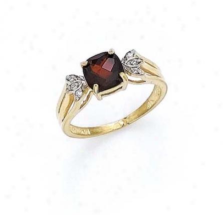 14k Diamond Garnet Ring