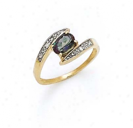 14k Diamond Mystic Topaz Oval Ring