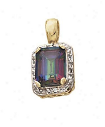 14k Diamond Mystic Topaz Pendant