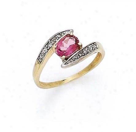 14k Diamond Pink Topaz Oval Ring