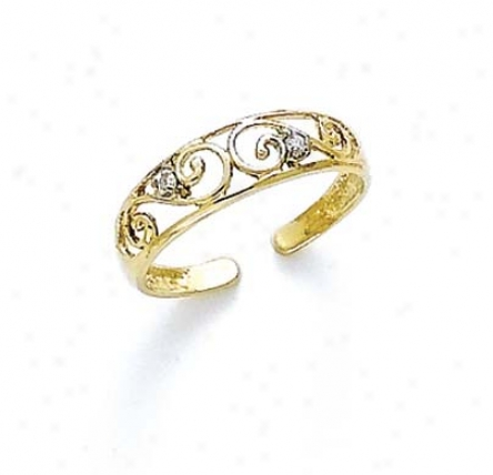 14k Diamond Schedule Toe Ring