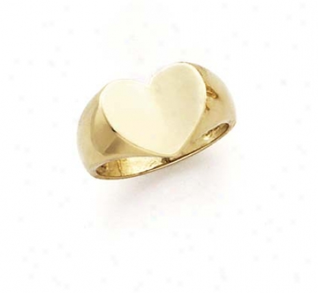 14k Dome Capacious Heart Ring
