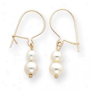 14k Double Cultured Pearl Dangle Earrings