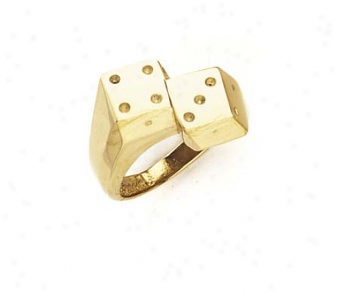 14k Double Dice Mens Ring