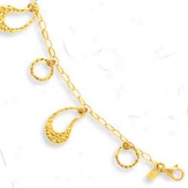 14k Elegant Hanging Drop Lobster Claw Bracelet - 7.25 Inch