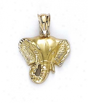 14k Elephant Head Pendant