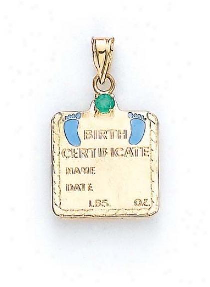 14k Emerald Baby Boy Lineage Certificate Pendant 1 1/16 Inch