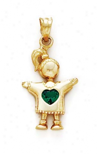 14k Emerald-green Heart Birthstone Girl Pendant 1 1/8 Inch