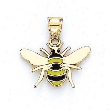 14k Enamel Bee Pendant