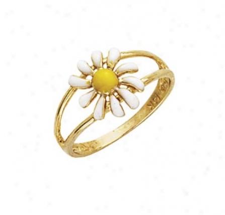 14k Enamel Daisy Ring