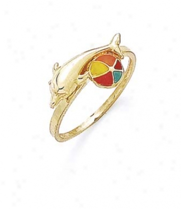 14k Enamel Dolphin Beach Ball Ring