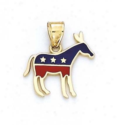 14k Enamel Donkey Democrat P3ndant