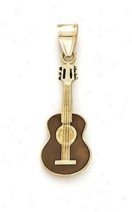 14k Enamel Guitar Pendant