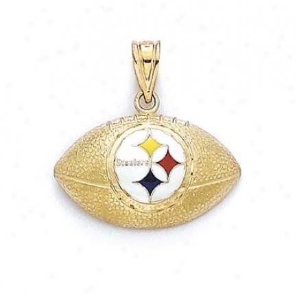 14k Enamel Pittsburgh Steelers Football Pendant