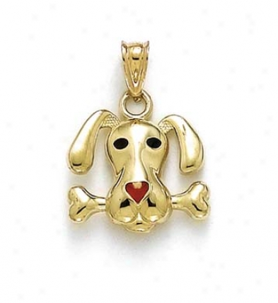 14k Enameled Dog Bome Pendant