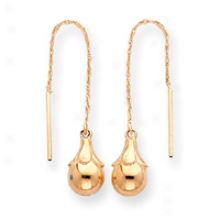 14k Fancy Ball Threader Earrings