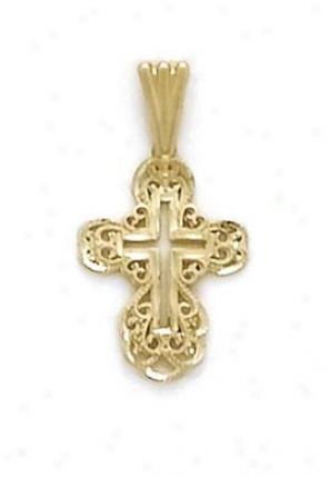 14k Filigree Cross Pendant