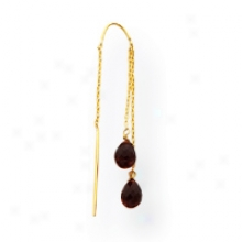 14k Garnet Threader Earrings