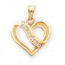 14k Grandma Heart Charm