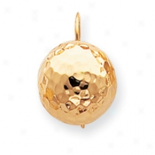 14k Hammered Half Ball Kidney Wire Earrings
