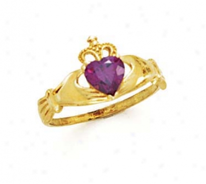 14k Heart Amethyst-purple Birthston3 Claddagh Ring