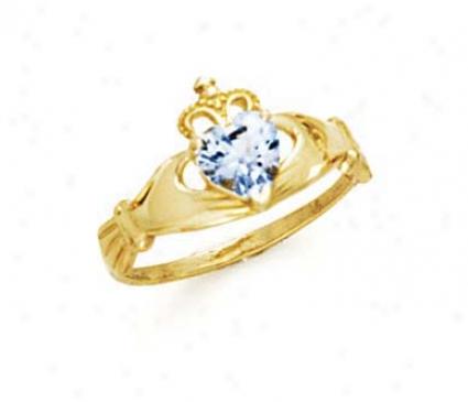 14k Heart Aquamarine-blue Birthstone Claddagh Ring