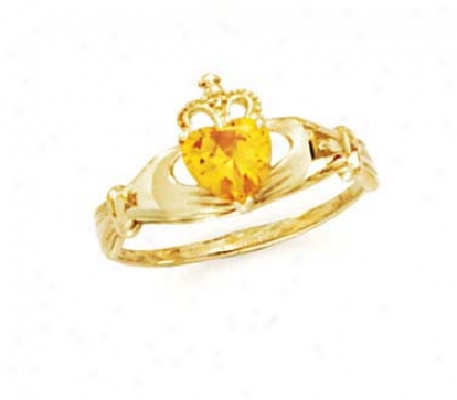 14k Heart Citrine-yellow Birthstone Claddagh Ring