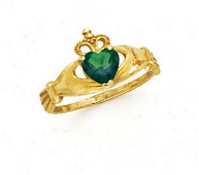 14k Heart Emerald-green Birthstone Claddagh Circle
