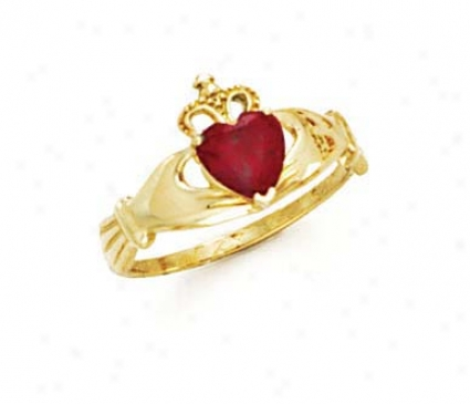 14k Heart Garnet-red Birthstone Claddagh Ring