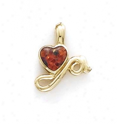 14k Heart Opal Inlay Pendant