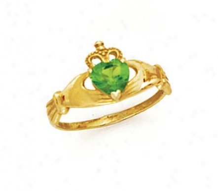 14k Heart Peridot-green Birthstone Claddagh Ring