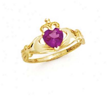 14k Heatt Rhodolite-pink Birthtsone Claddagh Ring