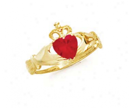 14k Heart Ruby-red Birthstone Claddagh Race-course