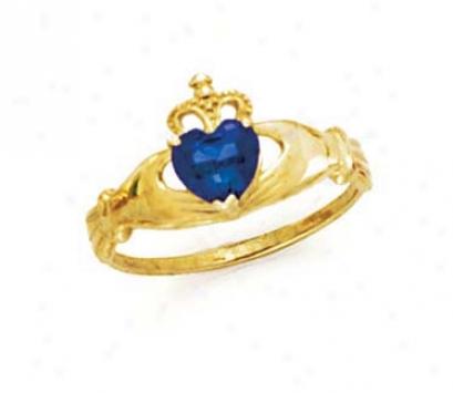14k Heart Sapphire-blue Birthstone Claddagh Ring
