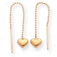14k Heart Threader Earrings