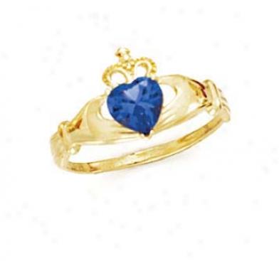 14k Heart Topaz-blue Birthstone Claddagh Ring