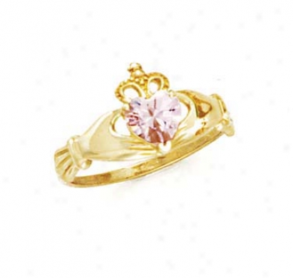 14k Heart Topaz-pink Birthstone Claddagh Ring