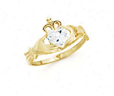 14k Heart Topaz-white Birthstone Claddagh Ring