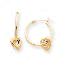 14k Hoop With Heart Earrings