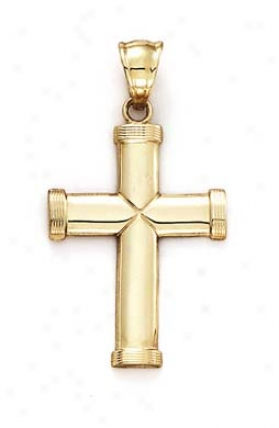 14k Large Plain Cross X Center Pendant