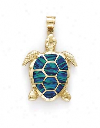 14k Large Turtle Opal Inlay Pendant