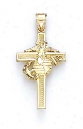 14k Large Us Marine Corps Cross Pendant