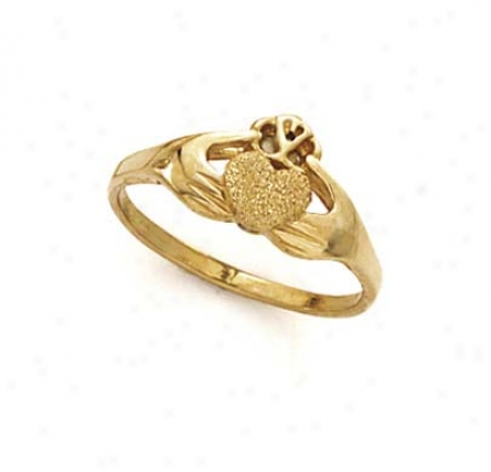 14k Laser Claddagh Ring