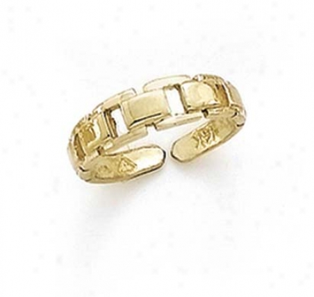 14k Linked Squares Toe Ring