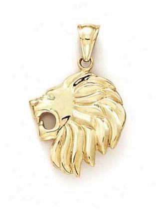 14k Lion Head Pendant