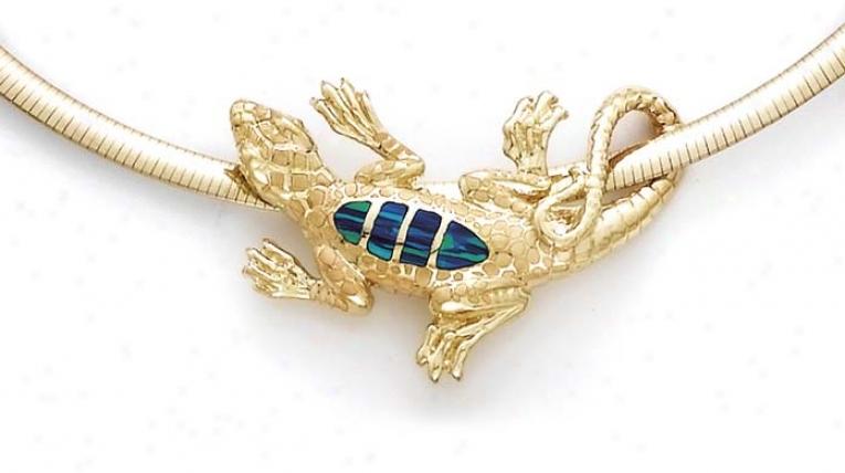 14k Lizard Opal Inlay Slide