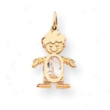 14k May Birthstone Emerald Boy Charm