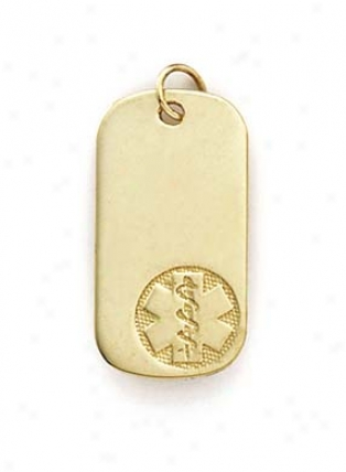 14k Medical Alert Dog Tag Pendant