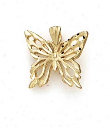 14k Medium Butterfly Outline Pendant