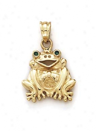14k Medium Grimning Frog Pendant